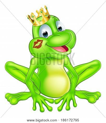 An illustration of a cute cartoon frog prince mascot character wearing a gold crown with a red lipstick mark on his lips form a kiss