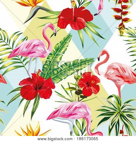 Beach cheerful seamless pattern of wallpaper from tropical green leaves of palm and flowers hibiscus cactus and birds pink flamingo on multicolor patchwork background