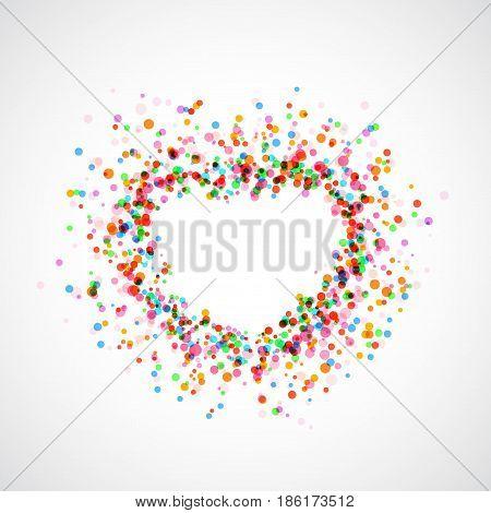 Bright colorful catching heart shape background - holi dust. Festive decorative fun frame. Vector illustration