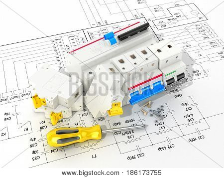 Circuit breakers on the electronic circuit. 3D illustration