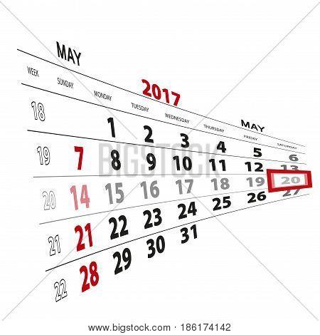 May 20, Highlighted On 2017 Calendar.