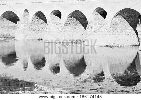 In Iran The Old Bridge And The  River