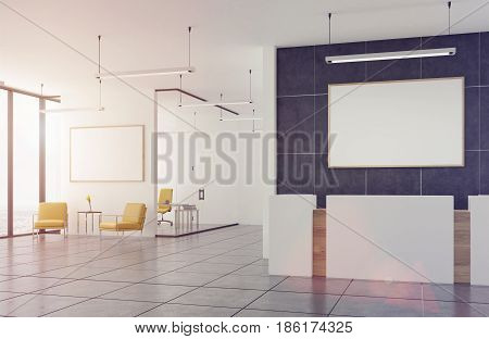 Empty office waiting area with two yellow armchairs standing near a coffee table and a framed horizontal poster hanging above it. White and wooden reception counter. 3d rendering mock up toned image