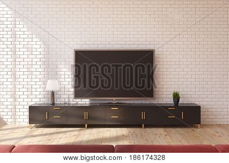 Minimalistic living room interior with a wooden closet standing near a white brick wall and a wide screen TV set on it. 3d rendering mock up