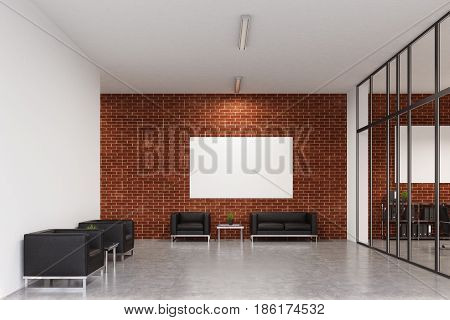Office waiting area with white and brick walls. There are square armchairs near a coffee table a sofa a poster above it and a room with a glass wall to the left. 3d rendering mock up
