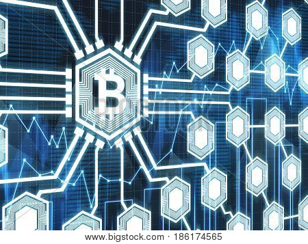 Large bitcoin icon is the center of a bitcoin network. Dark blue background with graphs. Concept of cryptocurrency