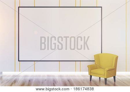 Close up of an empty room interior with wooden floor a white wall and a large whiteboard hanging on it. Yellow armchair is standing beside it. 3d rendering mock up