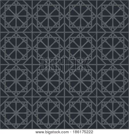 Black seamless texture with arabic geometric ornament. Vector pattern