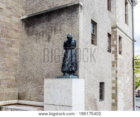 Statue Of Jeremie By The Swiss Sculptor Rodo In Geneva, Switzerland