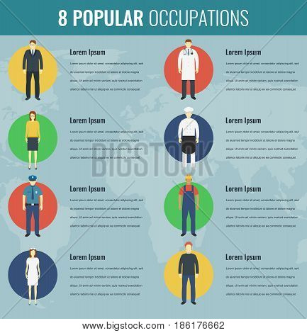 Popular occupations in the world. Profession icons set. Vector illustration