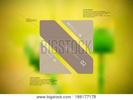 Illustration infographic template with motif of rectangle askew divided to three standalone brown sections with simple sign number and sample text. Blurred photo is used as background.