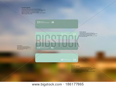Illustration infographic template with motif of rectangle horizontally divided to four standalone green sections with simple sign number and sample text. Blurred photo is used as background.