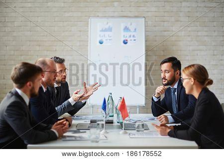 European Union members discussing international problems