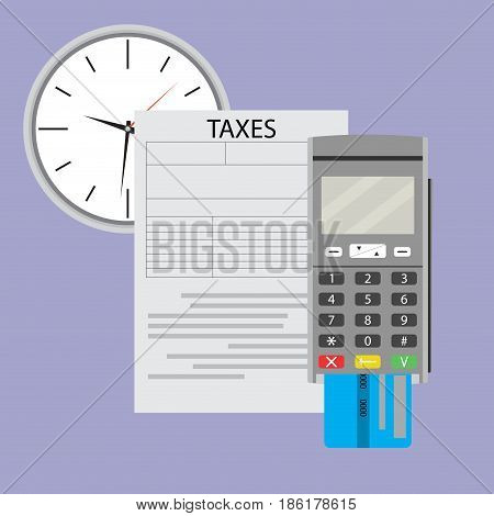 Time to pay taxes on income. Irs and tax season vector income tax form illustration