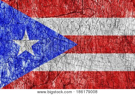 Grudge stone painted Puerto Rico flag close up