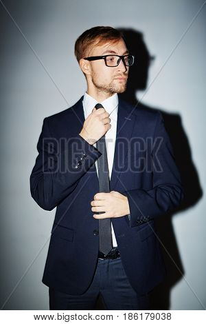 Well-dressed young businessman in isolation