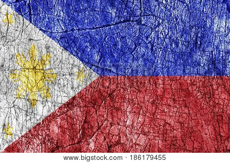 Grudge stone painted Philippines flag close up