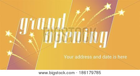 Grand opening vector illustration background with golden stars. Template banner for opening event