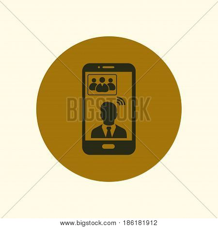 Online conference smart phone icon. Voice and video conferencing via smartphones and tablets.