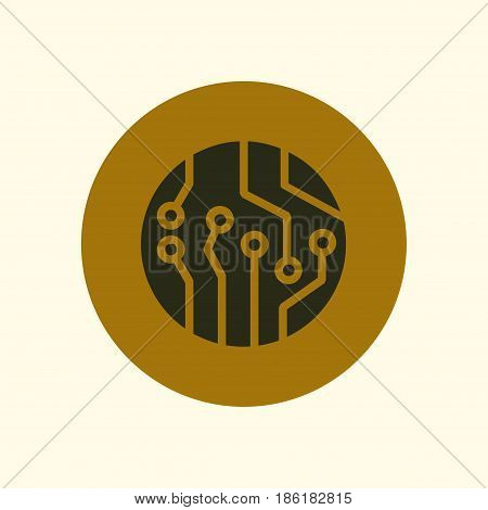 Circuit board  icon. Technology scheme square symbol. Flat design style.