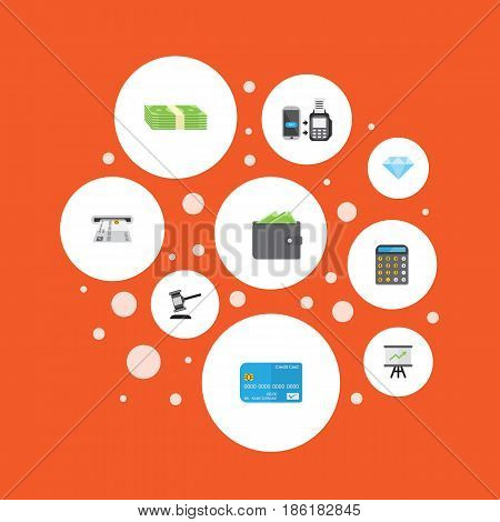 Flat Accounting, Payment, Jewel Gem And Other Vector Elements. Set Of Business Flat Symbols Also Includes Diamond, Finance, Gavel Objects.