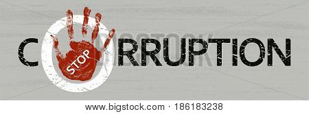 Stop corruption. Vector flat illustration. Stamp with text stop corruption inside.