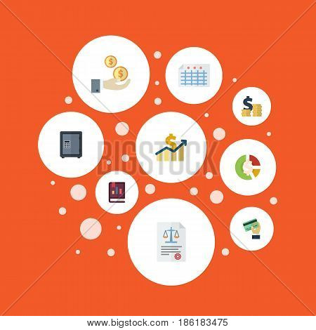 Flat Safe, Profit, Card And Other Vector Elements. Set Of Accounting Flat Symbols Also Includes Net, Card, Profit Objects.