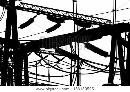 Isolated silhouettes of substation equipment on a white background