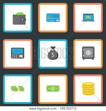 Flat Payment, Cash Stack, Finance Sack And Other Vector Elements. Set Of Banking Flat Symbols Also Includes Card, Billfold, Payment Objects.