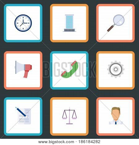 Flat Libra, Clock, Telephone And Other Vector Elements. Set Of Employment Flat Symbols Also Includes Watch, Job, Libra Objects.
