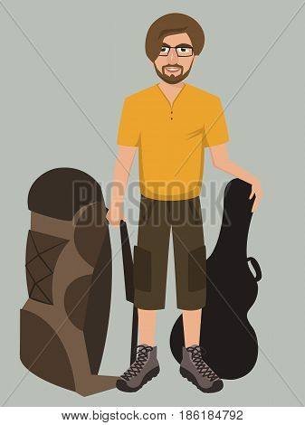 man with backpack and guitar case - funny cartoon vector illustration