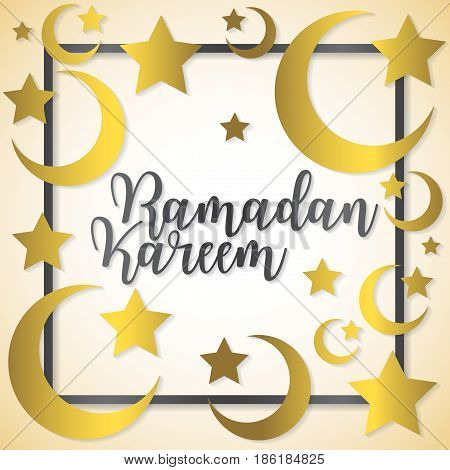Moon And Stars Ramadan Kareem (generous Ramadan) Card In Vector Format.