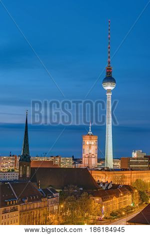 Television Tower and townhall in Berlin at night