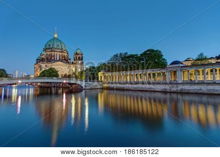 The Berlin Dom at the river Spree at dusk