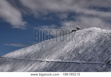 Hut on the top in the Giant Mountains in winter