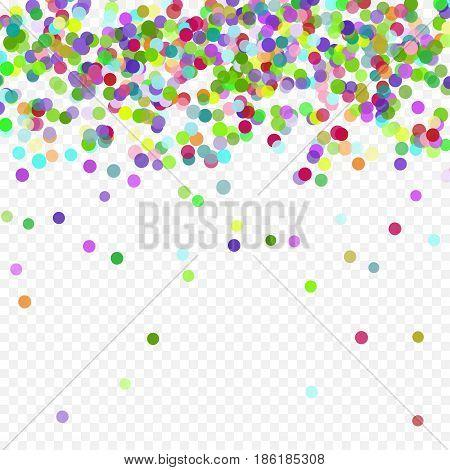Multicolored paper confetti. Realistic holiday festive carnival wedding decorations background polka dots. Colored scattered small round confetti. Colorful elements decoration celebration.