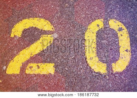 Numerical 20 painted in car park