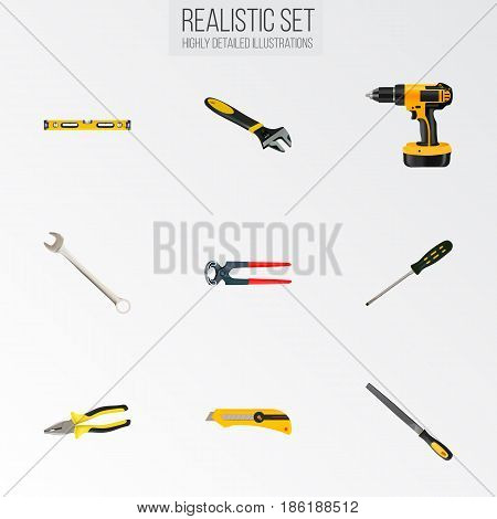 Realistic Spanner, Carpenter, Electric Screwdriver And Other Vector Elements. Set Of Tools Realistic Symbols Also Includes Key, Screwdriver, Ruler Objects.