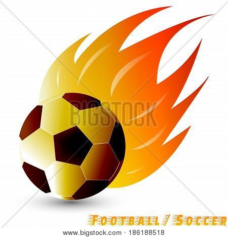 football ball or soccer ball with red orange yellow tone fire in the white background. Logo of football or soccer club. vector. illustration. basic red green blue. graphic design.