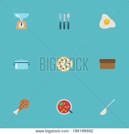 Flat Italian Pizzeria, Silverware, Loaf And Other Vector Elements. Set Of Gastronomy Flat Symbols Also Includes Chicken, Egg, Loaf Objects.