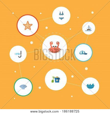 Flat Conch, Hat, Cancer And Other Vector Elements. Set Of Sunlight Flat Symbols Also Includes Shovel, Sail, Conch Objects.