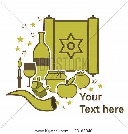Traditional Jewish symbols. Greeting card. Vector illustration