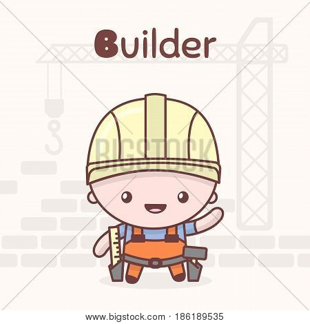 Cute Chibi Kawaii Characters. Alphabet Professions. Letter B - Builder