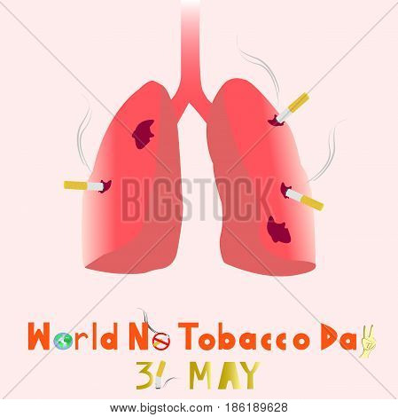 World No Tobacco Day with pink background. 31 MAY all year. Lungs destroyed by tobacco. PLEASE QUIT for safe your lungs!.vector. illustration. graphic design.