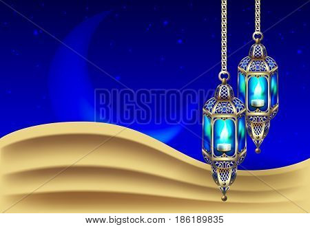 night background with vintage gold lantern in the sand dune against of the night starry sky and the moon, vector illustration
