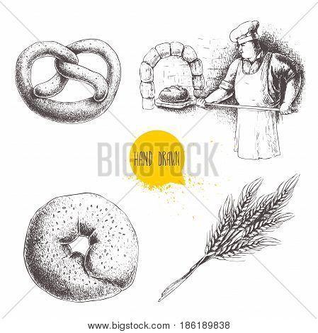 Hand drawn set bakery illustrations. Baker making fresh bread in stone oven sesame bagel german pretzel and wheat bunch. Bakery and mill vector illustration isolated on white background.