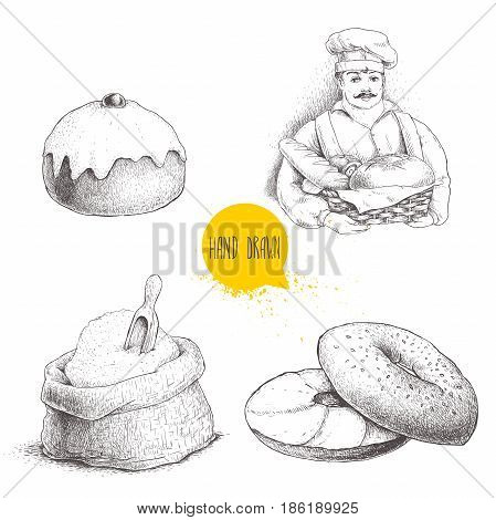 Hand drawn set bakery illustrations. Baker with basket of fresh bread sesame bagel with cream cheese iced sweet bun with cherry and flour sack. Vector drawings isolated on white background.