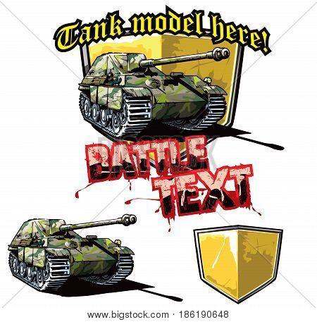 Vector illustration of logo design template for German tank destroyer.