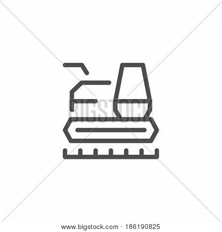 Combine harvester line icon isolated on white. Vector illustration