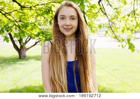 Healthy, Beautiful Smile, The Child To The Dentist.portrait Of A Little Girl With Orthodontic Applia